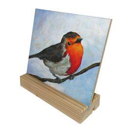 Keramische tegel reproductie schilderij Roodborstje Kunst kado artikel Atelier for Hope Doetinchem