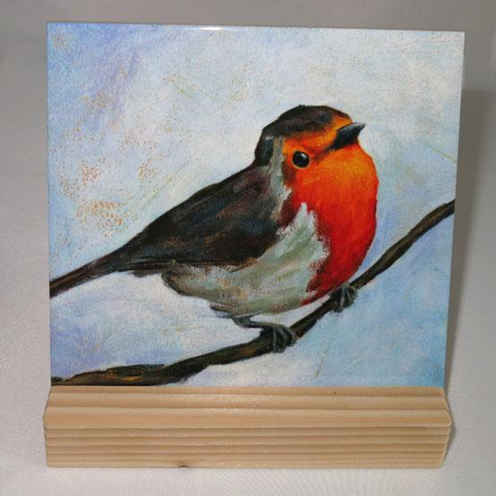 Keramische tegel reproductie schilderij Roodborstje Atelier for Hope Doetinchem