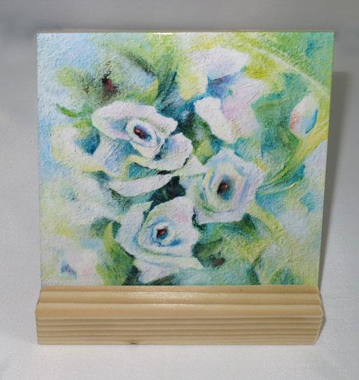 Keramische Tegel Schilderij Witte Roosjes Atelier for Hope Doetinchem