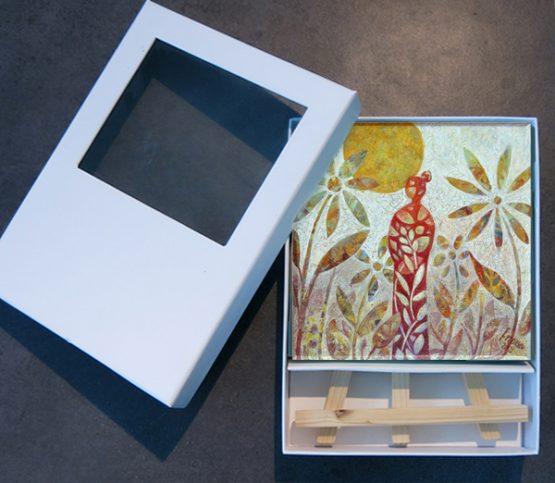 Miniatuur schilderij Verwondering, kunst kado inclusief ezeltje kleurrijk schilderijtje Atelier for Hope